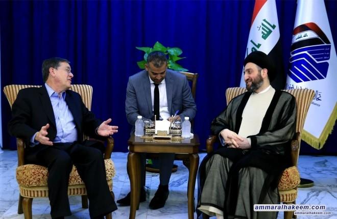 السيد عمار الحكيم يؤكد للخارجية الأمريكية حيادية العراق واستقلالية قراره ورفضه لأن يكون منطلقا للاعتداء على الآخرين