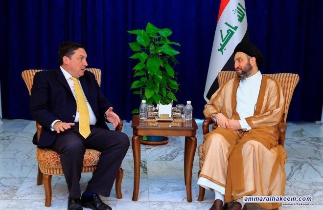 Sayyid Ammar Al-Hakim receives the British Ambassador to discuss latest developments in the political situation in Iraq and the region