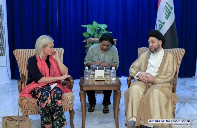 Sayyid Ammar al-Hakim receives the representative of the United Nations in Iraq to discuss latest developments in the political situation
