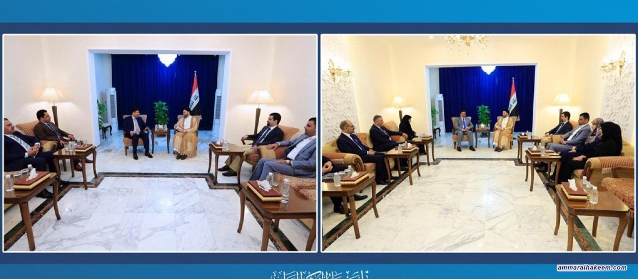 Sayyid Ammar al-Hakim receives Reform and Reconstruction Alliance and Nahdat Jeel delegations to discuss latest developments in the Iraqi political situation