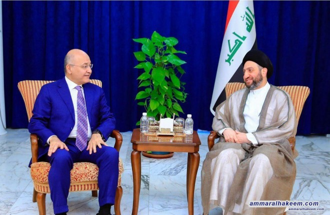 Sayyid Ammar al-Hakim receives the President of Iraq to discuss developments of the political situation in Iraq and the region
