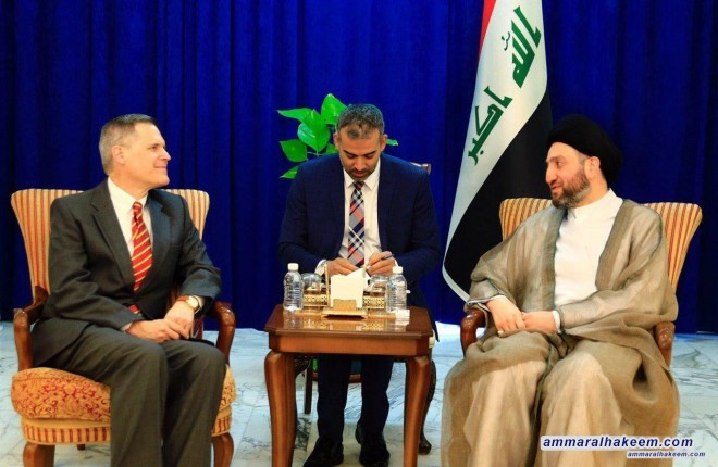Sayyid Ammar al-Hakim receives the US Ambassador to discuss developments of the political situation in Iraq and the region