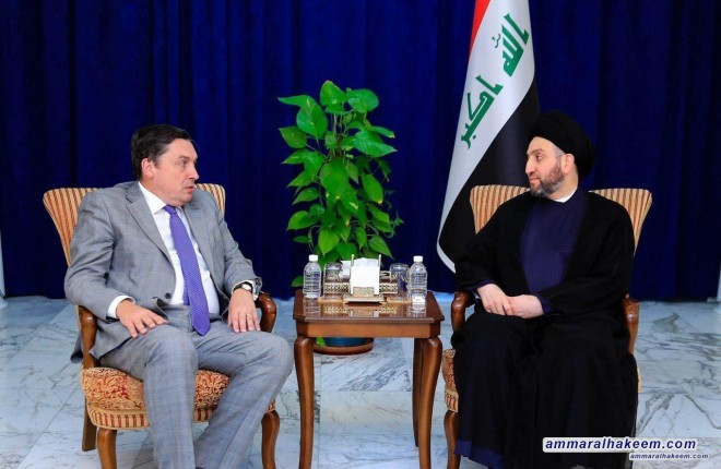 Sayyid Ammar Al-Hakim receives the British Ambassador to discuss developments of the political situation