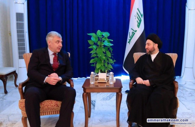 Sayyid Ammar Al-Hakim receives the Ambassador of Russia to discuss developments of political files