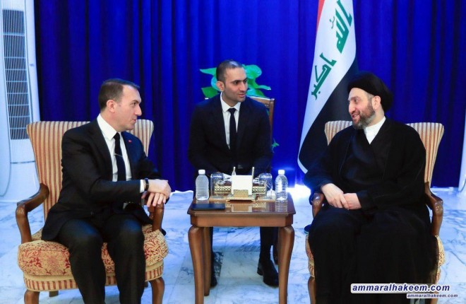 السيد عمار الحكيم يبحث مع السفير التركي العلاقات الثنائية بين بغداد وانقرة
