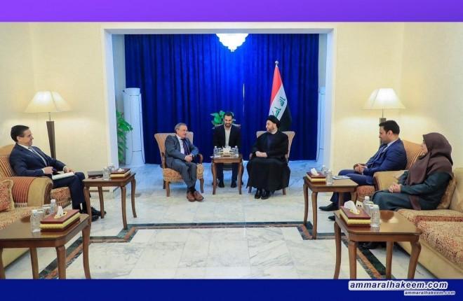 السيد عمار الحكيم يبحث مع السفير الاسباني تطورات المشهد السياسي في العراق والمنطقة