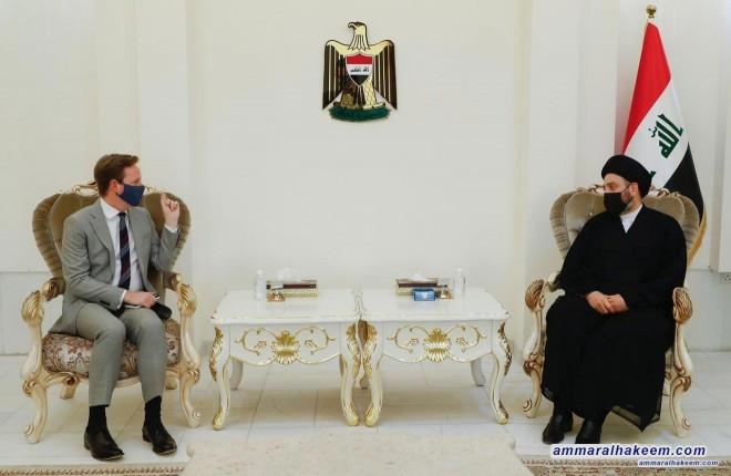 السيد عمار الحكيم يبحث مع السفير البريطاني مستجدات الاوضاع السياسية والعلاقات الثنائية بين بغداد والمملكة المتحدة