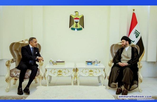 السيد عمار الحكيم يبحث مع سفير جمهورية مصر العربية العلاقات بين البلدين