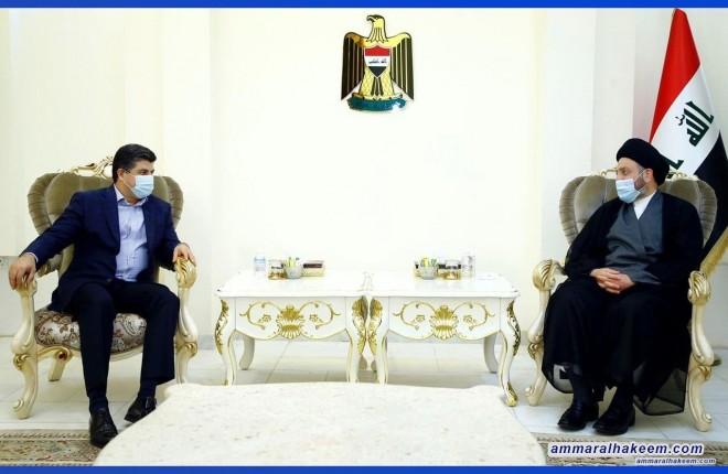 السيد عمار الحكيم يستقبل الرئيس المشترك للاتحاد الوطني الكردستاني لمناقشة العلاقة بين بغداد وحكومة الاقليم وحل الاشكاليات العالقة واجراء الانتخابات ببرامج انتخابية وقوائم عابرة
