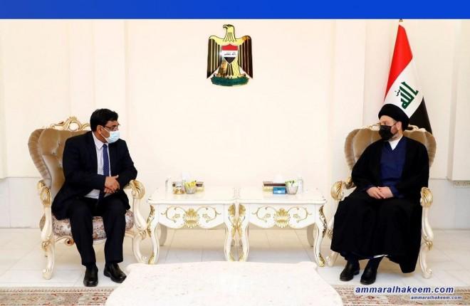 السيد عمار الحكيم يبحث مع السفير الهندي تعزير العلاقات بين العراق والهند