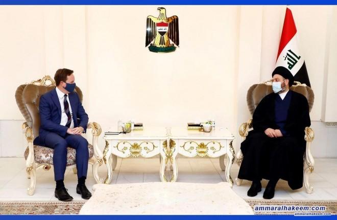 السيد عمار الحكيم يبحث مع السفير البريطاني تطورات المشهد السياسي في العراق والمنطقة
