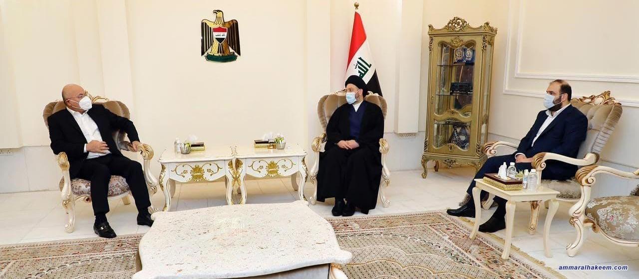 السيد عمار الحكيم يبحث مع رئيس الجمهورية الانتخابات المبكرة وتطورات المشهد السياسي
