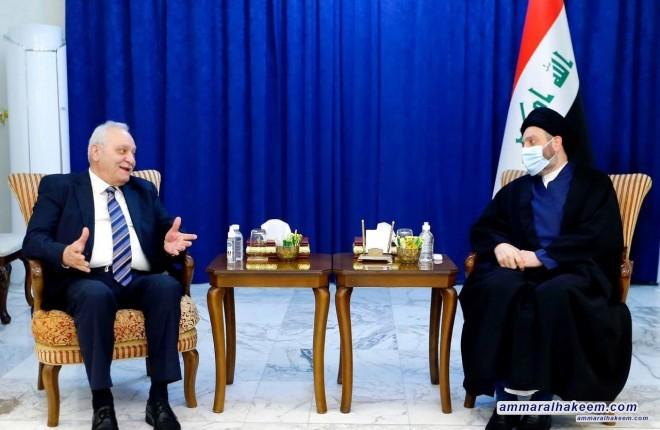 السيد عمار الحكيم يستقبل رئيس اتحاد النقابات العمالية العربية ويبحث معه واقع العمال في العراق والمنطقة