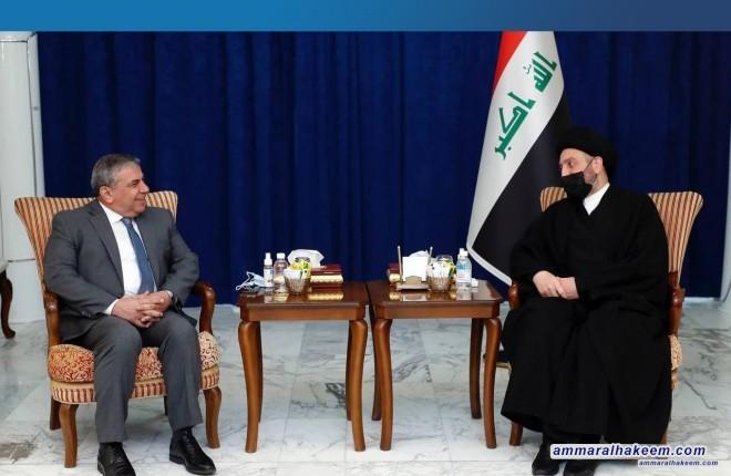 السيد عمار الحكيم يبحث مع وفد اتحاد المقاولين العراقيين الواقع الاقتصادي ويشدد على اعتبار مستحقاتهم خطا احمرا