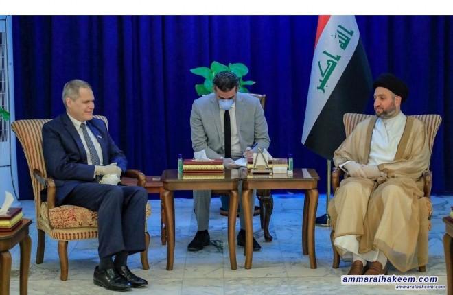 السيد عمار الحكيم يبحث مع السفير الاميركي ماثيو تولر مستجدات الاوضاع السياسية في العراق والمنطقة