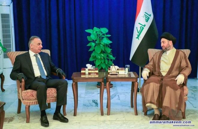 السيد عمار الحكيم يستقبل رئيس الحكومة مصطفى الكاظمي ويشدد على جعل الازمات على رأس الاولويات