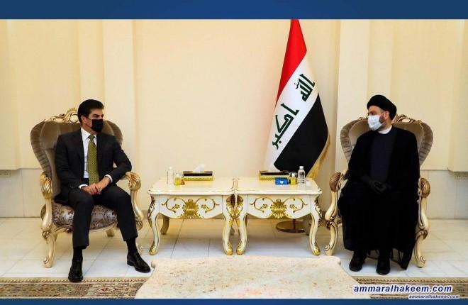 السيد عمار الحكيم يبحث مع السيد نجيرفان بارزاني مستجدات الاوضاع في العراق والمنطقة