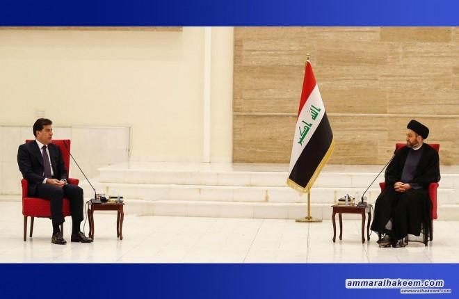 السيد عمار الحكيم يستقبل رئيس اقليم كردستان العراق نيجرفان بارزاني ويبحث معه مستجدات الوضع السياسي والعلاقة بين بغداد واربيل