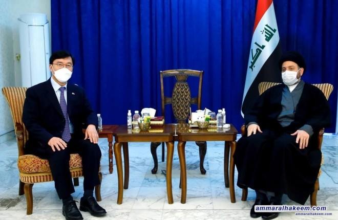 السيد عمار الحكيم يبحث مع السفير الكوري العلاقات الثنائية بين بغداد وسيؤول