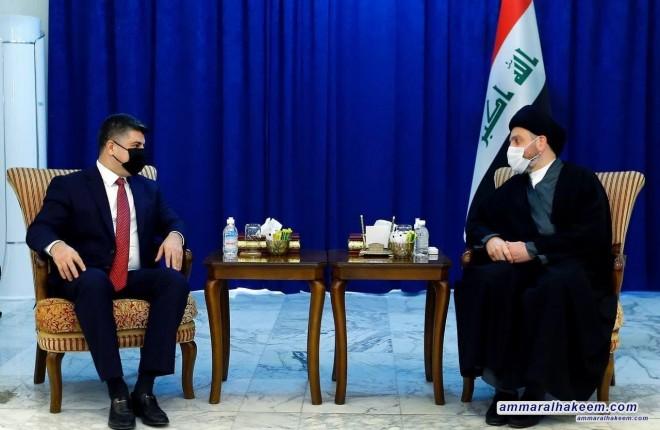 السيد عمار الحكيم يستقبل الرئيس المشترك للإتحاد الوطني الكردستاني ويبحث معه تطورات المشهد السياسي