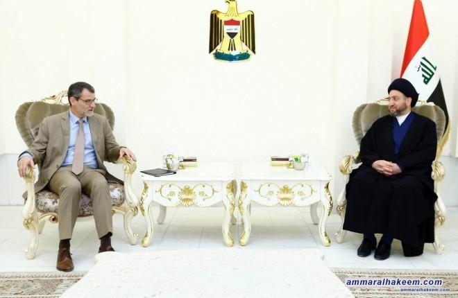 السيد عمار الحكيم يستقبل سفير الاتحاد الاوربي ويبحث معه العلاقات الثنائية بين العراق ودول الاتحاد