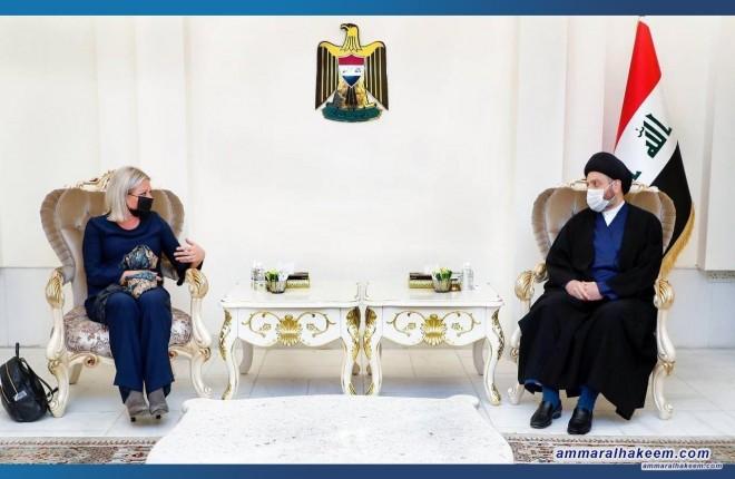 السيد عمار الحكيم يستقبل ممثل الامين العام للأمم المتحدة السيدة بلاسخارت ويطالب المنظمة الدولية بدور رقابي في الملف الإنتخابي