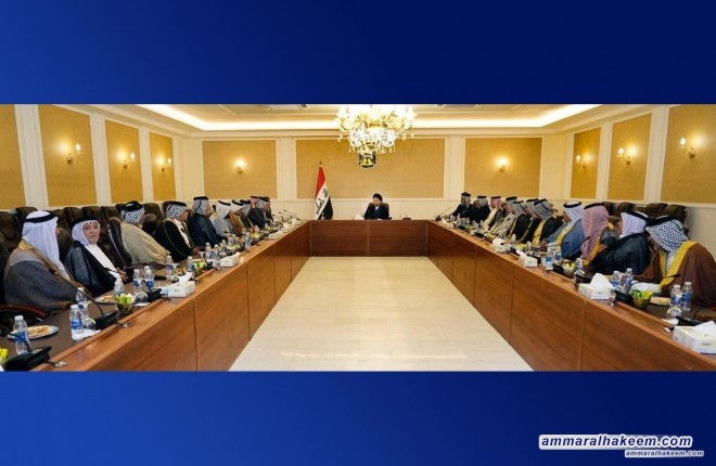 السيد عمار الحكيم يستقبل شيوخ ووجهاء قبيلة الشغانبة ويدعو لمشاركة واعية في الانتخابات القادمة