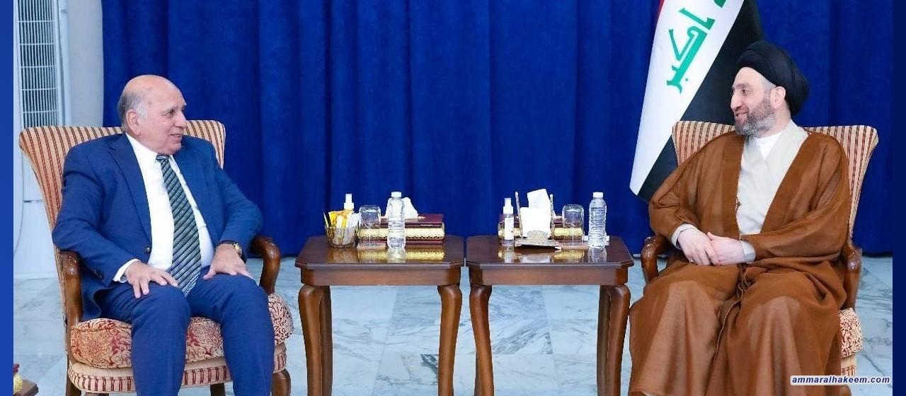السيد الحكيم يستقبل وزير الخارجية ويؤكد ضرورة تحمل المفوضية والسلطة القضائية مسولياتهم في النظر بجدية للطعون