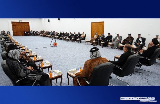 خلال لقائه شيوخ ووجهاء عشائر الجحيش .. السيد عمار الحكيم يشدد على الالتزام بشروط المرجعية لانتخاب المرشحين