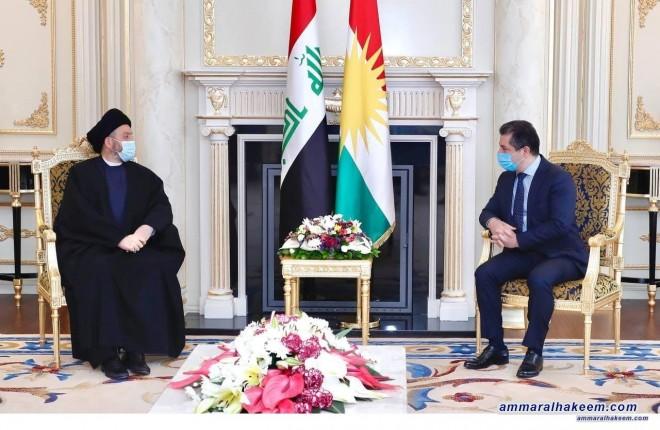 السيد عمار الحكيم ييحث مع مسرور البارزاني العلاقة بين بغداد واربيل والانتخابات المبكرة