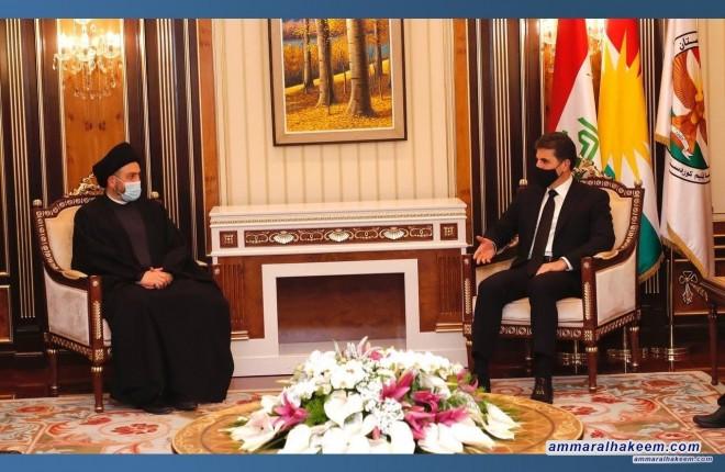 السيد عمار الحكيم يبحث مع رئيس اقليم كردستان نيجرفان البارزاني مستجدات الاوضاع السياسية