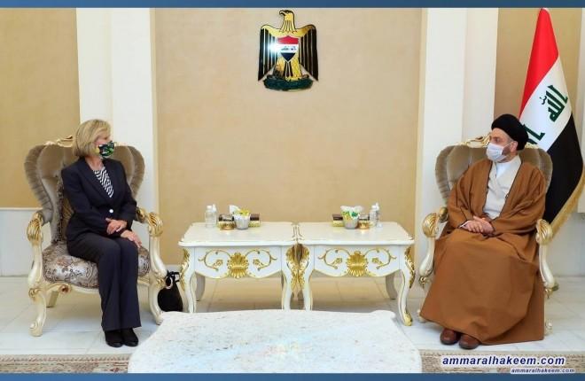 السيد عمار الحكيم يبحث مع السفيرة الاسترالية العلاقات الثنائية بين العراق واستراليا