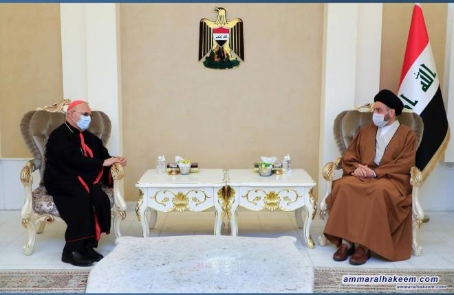 السيد عمار الحكيم يبحث مع الكاردينال ساكو نتائج زيارة البابا للعراق والحوار الوطني