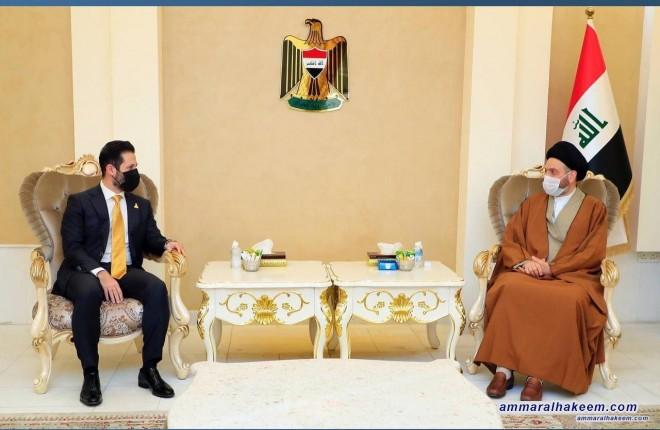 السيد عمار الحكيم يستذكر مع قوباد طالباني التضحيات المشتركة للعرب والكرد في مواجهة الدكتاتورية
