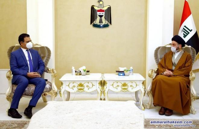 السيد عمار الحكيم لسفير مصر الجديد .. مصر مهمة لجوارها العربي والاقليمي ولابد من استعادة دورها