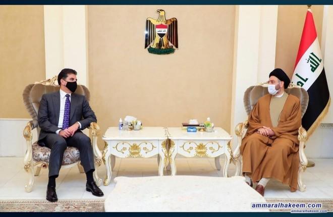 السيد عمار الحكيم يستقبل نيجرفان بارزاني ويبحث معه تطورات المشهد السياسي وادوار العراق الاقليمية والدولية