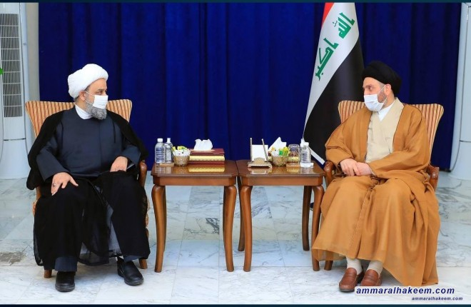 Sayyid Ammar Al-Hakim Meets Sheikh Hamid Shahriari: Stresses The Significance of Confronting Extremism Discourse, Calls Upon Scholars of Imams to Protect It From Deviations