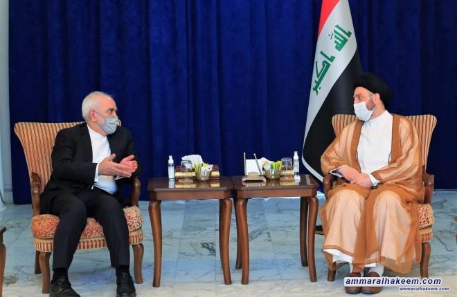 السيد عمار الحكيم يستقبل وزير الخارجية الإيراني ويبحث معه سبل تعزيز العلاقات الثنائية