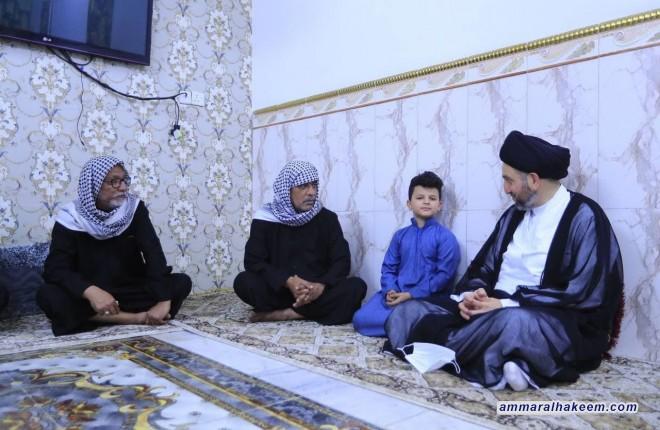 """السيد عمار الحكيم يتفقد اسرة الفقيد المرحوم """"ابو رضا الشويلي"""""""