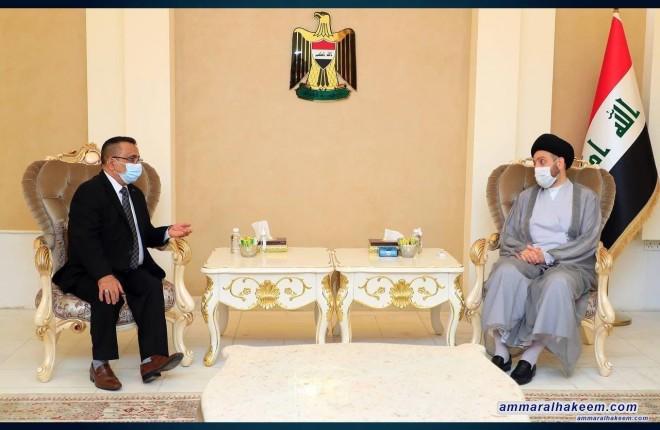 خلال استقباله رئيس التحالف العراقي للكرد الفيليين .. السيد عمار الحكيم يشدد على وحدة المكون الفيلي
