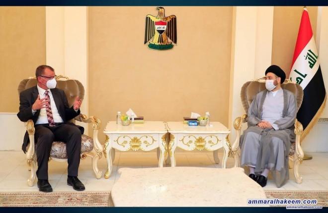 السيد عمار الحكيم يبحث مع السفير الالماني تطورات المشهد السياسي ويطالب المانيا بموقف داعم للقضية الفلسطينة