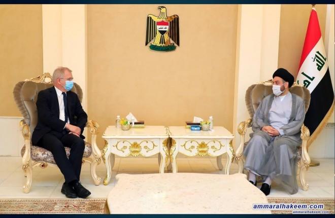 السيد عمار الحكيم يبحث مع السفير السويدي تطورات المشهد السياسي والعلاقات الثنائية بين العراق والسويد