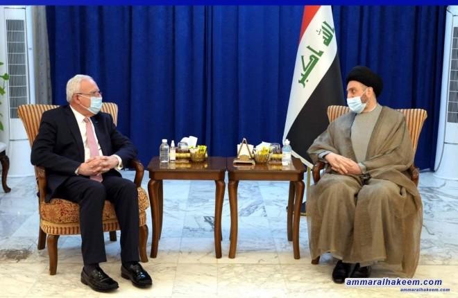 السيد عمار الحكيم يستقبل وزير الخارجية الفلسطيني ويشدد على ضرورة استثمار النصر الفلسطيني وترصين الجبهة الداخلية