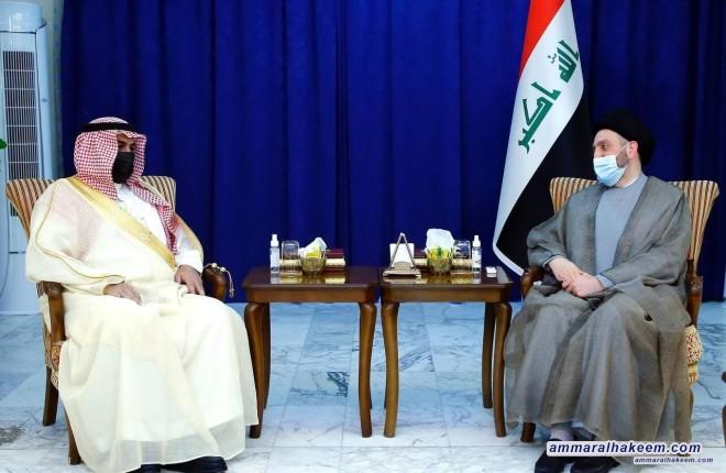 السيد عمار الحكيم يبحث مع السفير السعودي تطورات المشهد السياسي ويشيد باللغة الايجابية بين طهران والرياض