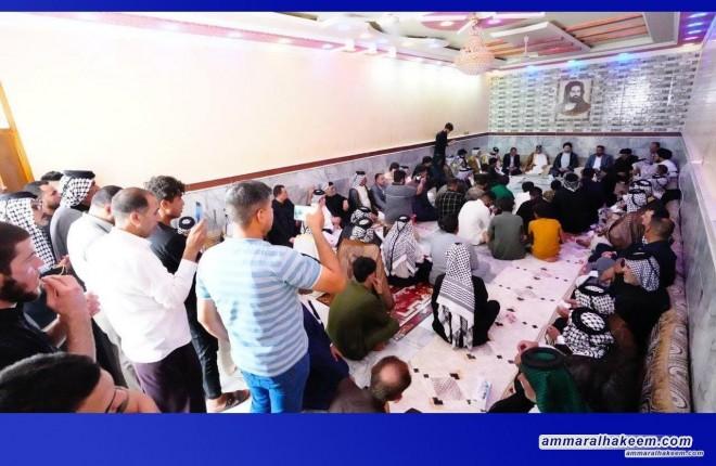 خلال جولته بمحافظة ميسان.. السيد عمار الحكيم يزور مضيف عشيرة البوغنام في الكحلاء