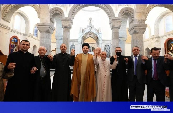 خلال زياته نينوى .. السيد عمار الحكيم يزور كنيسة الطاهرة الكبرى بقضاء الحمدانية