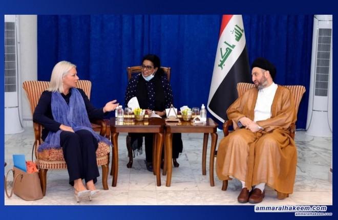 السيد عمار الحكيم يبحث مع بلاسخارت الانتخابات المبكرة والرقابة الدولية عليها
