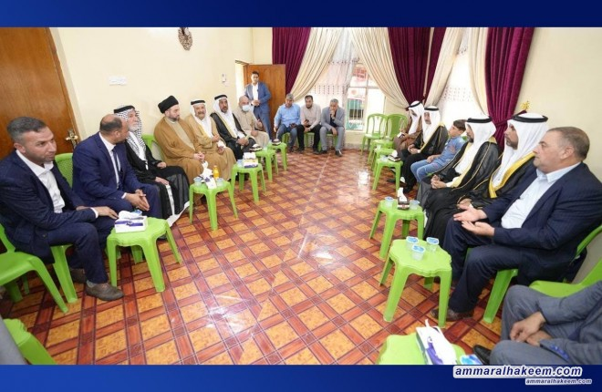 Within the framework of His Eminence tour in Saladin Province and H.E. visit to Balad district, Sayyid Ammar Al-Hakeem whish's Allah to bless the souls of the righteous martyrs whilst visiting several families of the martyrs.