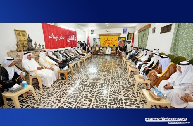 Sayyid Ammar Al-Hakeem: Dujail is victory icon over ISIS, whilst visiting Al-Khazraj tribe's guest-place
