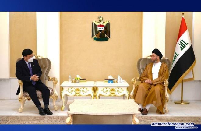 السيد عمار الحكيم يبحث مع السفير الكوري تطورات المشهد السياسي والعلاقات الثنائية بين بغداد وسيؤول
